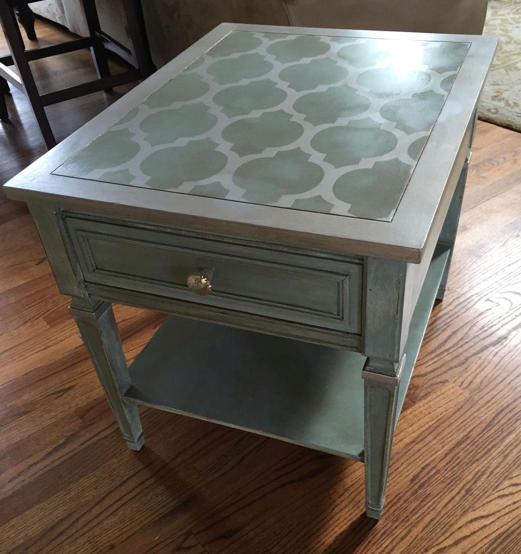 End Table Stencil Upcycle